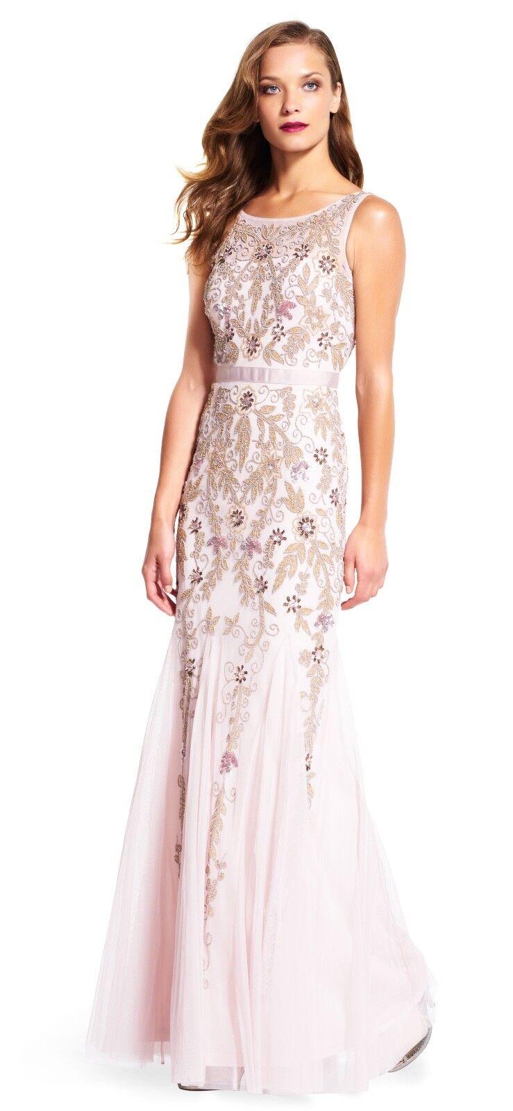 ADRIANNA PAPELL con cuentas Godet Transparente Escote Vestido Vestido talla  10  nuevo listado