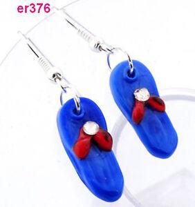1pair-Fashion-Chic-Lady-039-s-Lampwork-Art-Glass-slipper-Beaded-Earring-dangle-J6P8