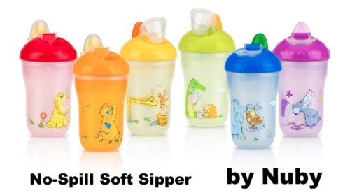 Nuby Insulated No-Spill Soft Sipper Sippy Cup 2-pack BPA Free Toddler//Baby 9oz