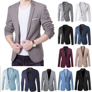 b10475150be Plus Size Mens Formal Slim Fit One Button Suit Blazer Business Coat ...