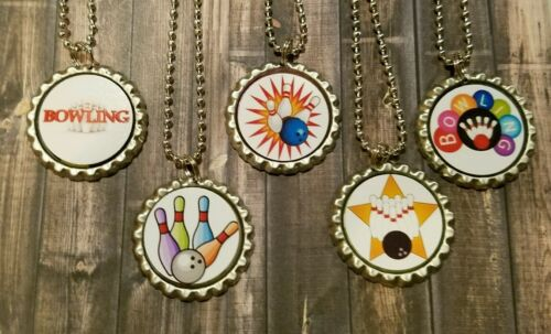 15 Bowling inspired Bottle Cap Necklaces Party Favors Gifts
