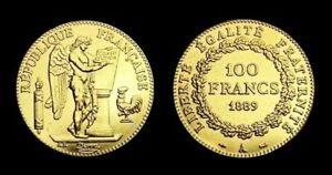 COPIE-Piece-plaquee-OR-GOLD-Plated-Coin-100-Francs-Genie-1889-A