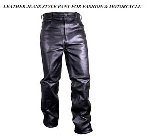 MEN'S MOTORCYCLE FASHION RIDER BIKER Touring Motorbike JEANS STYLE LEATHER PANTS