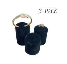 3pc High Quality Black Velvet Round Shaped Ring Jewelry Display Holder Stand