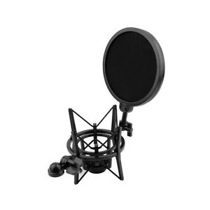 Microphone-Shock-Mount-Stand-Holder-with-Integrated-Pop-Filter-Black-Kit-M-t