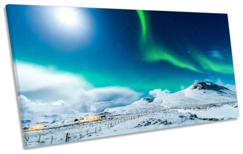 Northern Lights Green Space Framed PANORAMIC CANVAS PRINT Wall Art