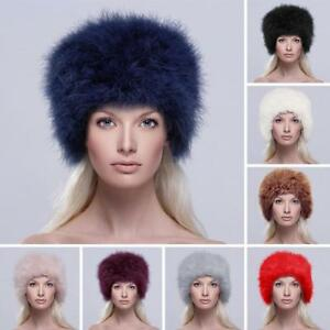 da137022679 Womens For UK Attractive Cossack Russian Real Ostrich Fur Winter Hat ...