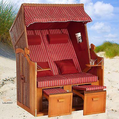 Strandkorb OSTSEE 2in1, bordeaux-natur, Abdeckhaube, kpl. montiert, LILIMO ®