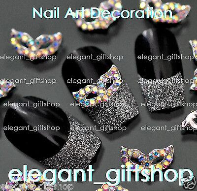 #EA117 10pcs 3D Mask Alloy Jewelry Nail Art Dec Multi_Color  Glitter Rhinestone