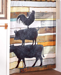 Image Is Loading Farm Animal Shower Curtain Rustic Barnwood Rooster Pig