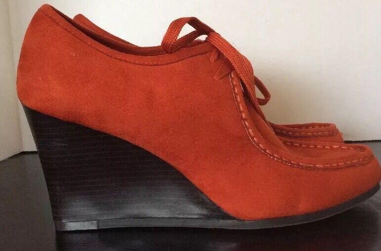 NWOB orange Suede Women's Dexter Mocassins Wallaby High Heel shoes Size 11