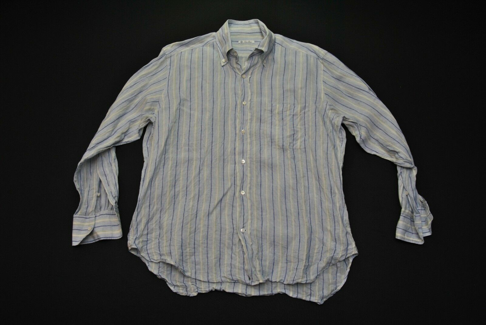 Lgold Piana Linen Shirt Men 16 41 Large L bluee Stripes