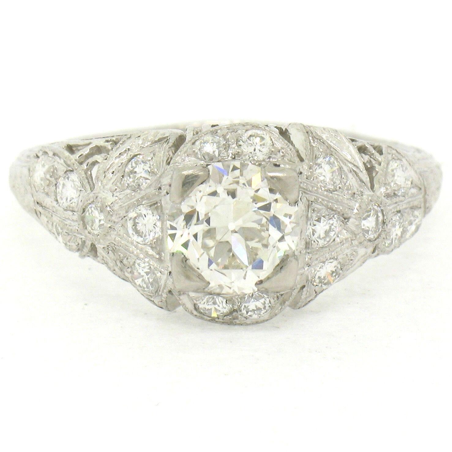 Antique Art Deco Platinum 1.33ctw GIA Certified Round Diamond Bows Engagent Ring
