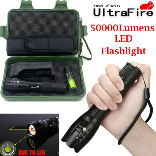 UltraFire 80000LM Zoomable T6 LED Flashlight Torch Lamp+18650 Battery+Charger*