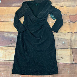 Lauren-Ralph-Lauren-LRL-Womens-Dress-Size-4p-Petite-New-Sparkle-Black-NWT