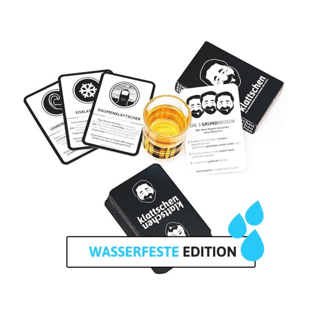 klattschen® - Trinkspiel - WASSERFESTE EDITION - Partyspiel mit Plastikkarten