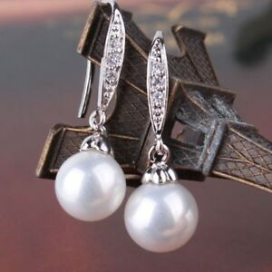 18-K-White-Gold-Filled-Pearl-amp-White-Sapphire-Charming-Drop-Dangle-Hook-Earrings