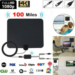100-Miles-Digtial-TV-Indoor-Antenne-Amplified-DVB-T-DVB-T2-1080P-HDTV-Fernseher