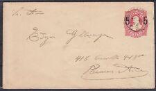 Argentinien alte 5 C. Ganzsache 1890, gel., GA Klassik, Asher Nr. 10