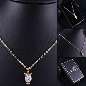 Suesse-Kette-Halskette-Gold-Eule-Gelbgold-pl-Swarovski-Elements-inkl-Etui