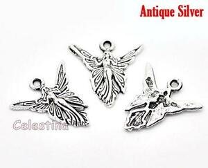 10 antique silver fairy charms pendants lf nf fairies angels image is loading 10 antique silver fairy charms pendants lf nf aloadofball Image collections