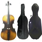 Full Size 4/4 Acoustic Cello Student Soft Bag+Hard Case+Bridge +Rosin+Cello Bow