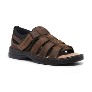 Mens-Hush-Puppies-Spartan-Leather-Sandals-Brown-Casual-Comfortable-Summer-Shoes
