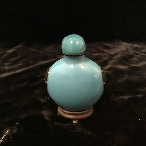 """antique Chinese Peking cameo glass snuff bottle black cut back to blue 3"""" Qing"""