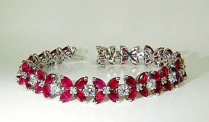 Marquise-Ruby-With-White-Round-CZ-Tennis-Silver-Bracelet-14K-White-Gold-Plating