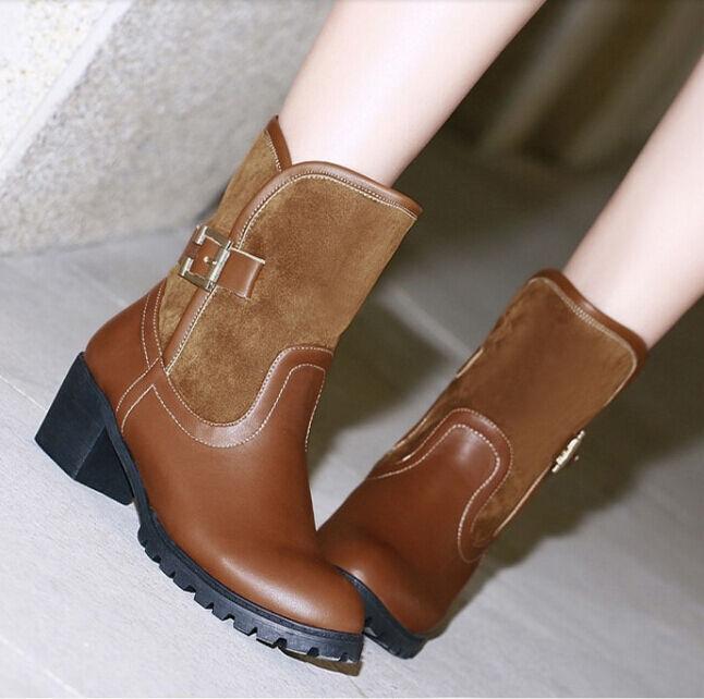 Bottes hiver hauts confortable chaussures pour femmes talon 5 cm beige 8765
