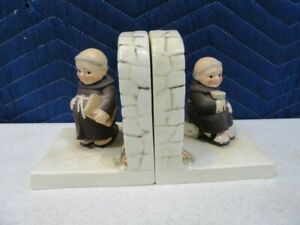 Vintage-1956-Goebel-Hummel-Friar-Tuck-Bookends-Excellent-W-Germany