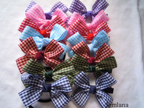 ..choose one Check ribbons Jemlana/'s handmade school hair clips/& ties