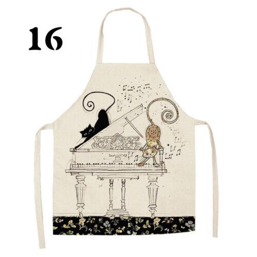 Cartoon Cat Printed Cotton Linen Sleeveless Apron Cleaning Kitchen Bib Aprons