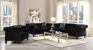 Image Is Loading Dazzling Contemporary Black Velvet Nailhead Sofa Loveseat Living