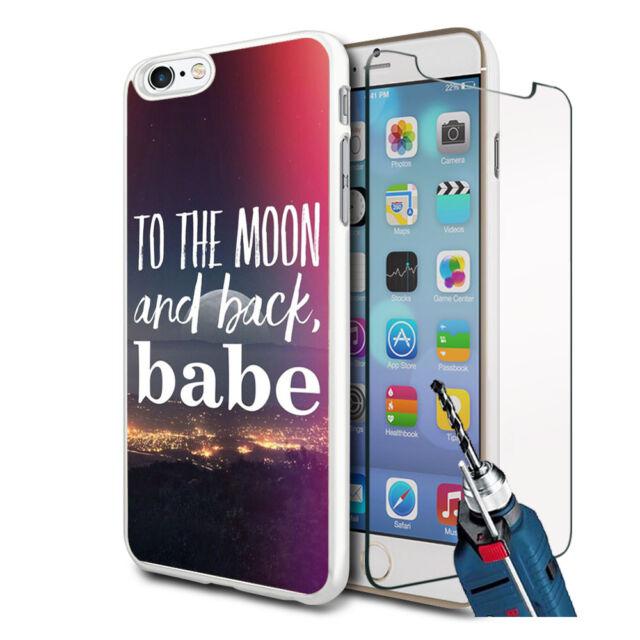 To The Moon Design Hartschale Hülle & Glas für Verschiedene Handys