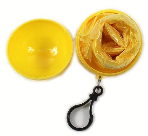 2 X Enfants Jaune Porte-clés Poncho Ball Imperméable Jetable Imperméable à Capuche