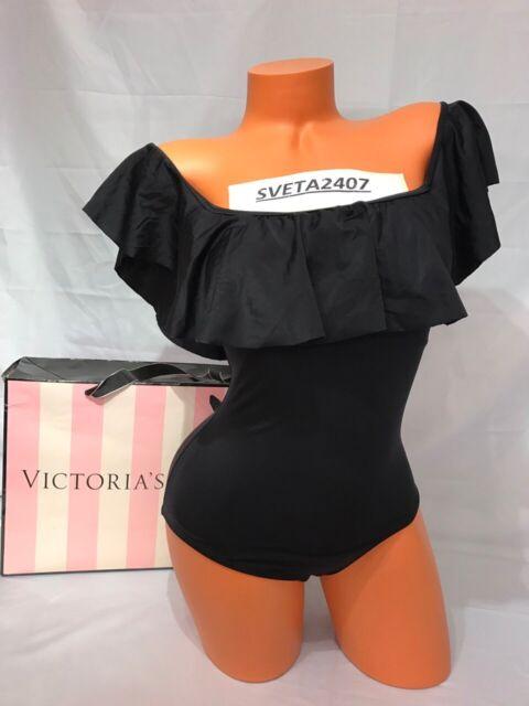 097df89ce9186 Victoria s Secret NWT Swim Black Flounce Off-Shoulder One Piece Monokini Sz  XS