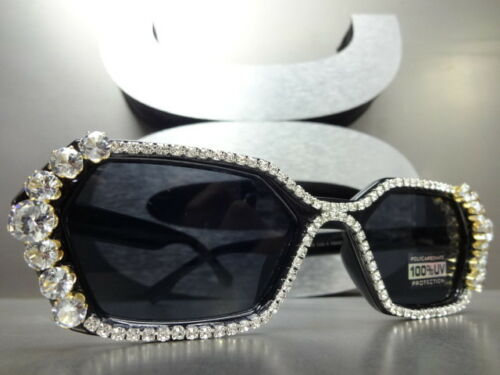 CLASSIC RETRO Style SUN GLASSES Hexagon Black Frame Bling Crystals Custom Made
