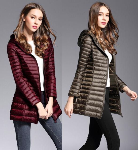 UNIQLO'S Factory Sale! Womens Long Ultralight Hooded Down Jacket Puffer Overcoat
