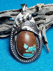 Turquoise-No-8-Mine-Natural-Solid-Sterling-Silver-Pendant-Handmade
