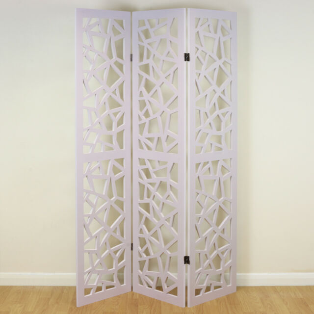 Room Dividers.White 3 Panel Decorative Folding Home Room Divider Paintable Partition Screen