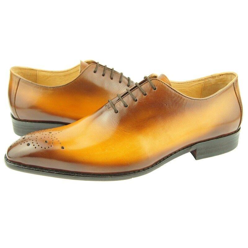 Carrucci Wholecut Medallion Oxford, Men's Dress Leather shoes, Cognac 8US