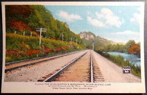 Postcard-Along-the-Burlington-039-s-Mississippi-River-Line-Chicago-St-Paul-Route-RR
