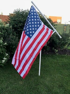 """New 3//4/"""" Heavy Duty PVC Spinner Flag Pole Kit with USA Flag for Camping etc"""