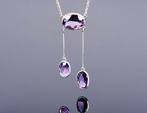 elegantes Jugendstil Collier Kette um 1900 - violet lila Amethyste - Silber 835