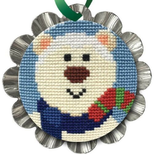 Colonial Needle Christmas Cross Stitch Tin Ornament Kit Jolly Polar Bear