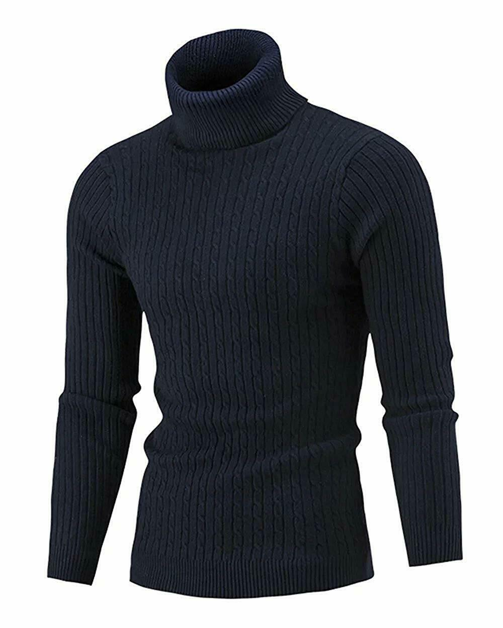 QZH.DUAO Cameinic Mens Casual Slim Fit Turtleneck Pullover Sweaters with Twist Patterned /& Long Sleeve T-Shirt