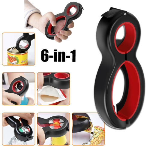 6 in 1 Multi Function Opener Can Container Bottle Jar Lid Tool All in One Twist