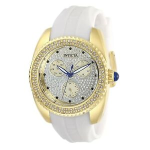 Invicta-Women-039-s-Angel-28484-38mm-Gold-Dial-Silicone-Watch