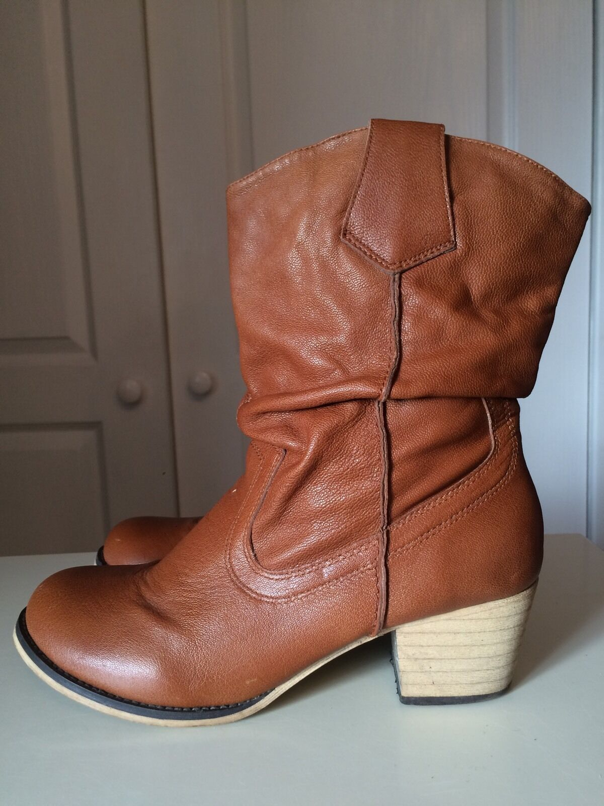 Marks And Spencer M&S Autograph Ankle Calf High Heel Brown shoes Boot Size 6 39